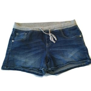 Flaws Justice Denim Shorts Jean 16 ½ Plus Knit tie